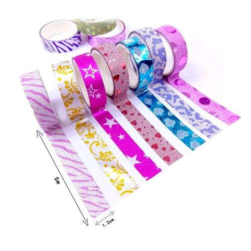 10 fita adesiva decorativa c/ glitter fseta sortido 5 metro