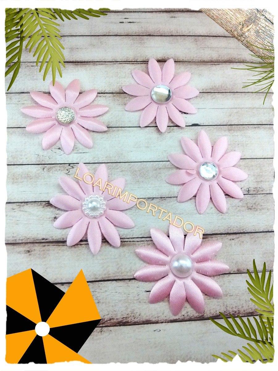 10 Flores Tela Con Perla Para Decoracion Costura Souvenir - $ 75,62 ...
