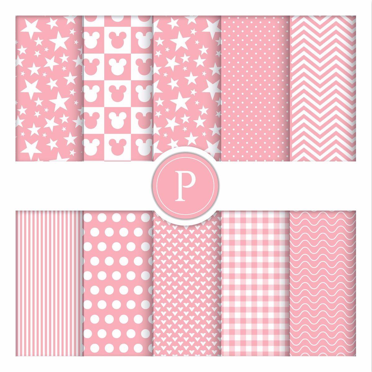 10 fls papel decorado p scrapbook minie rosa a4 180 gr r