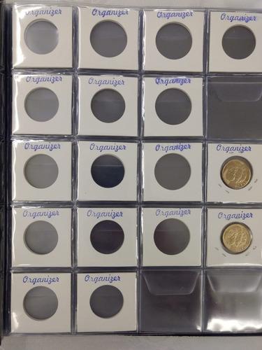 10 folha plastico moedas 20 div furos univ - com aba