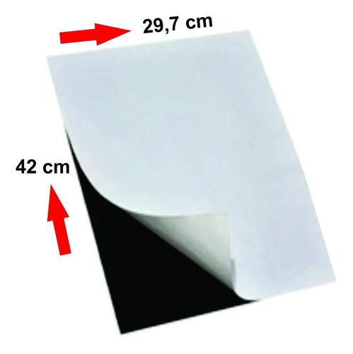 10 folhas imã magnético tam. 29,7x42cm a3 0,3mm adesivada