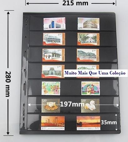 10 folhas pccb para selos de 7 divisões fundo negro