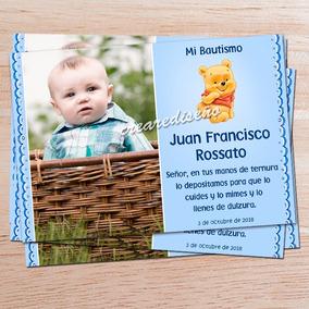 10 Foto Tarjetas Invitación Bautismo Primer Añito Pooh Bebé