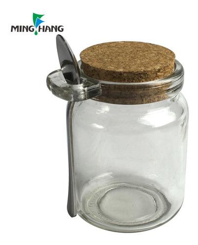 10 frascos vidrio tapa corcho 200 cc + cuchara agronewen