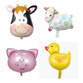 10 Globos Animales De Granja Vaca Oveja Pato Chancho Caballo