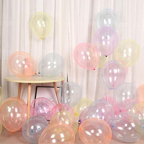10 globos cristal pastel transparente pasteles surtidos