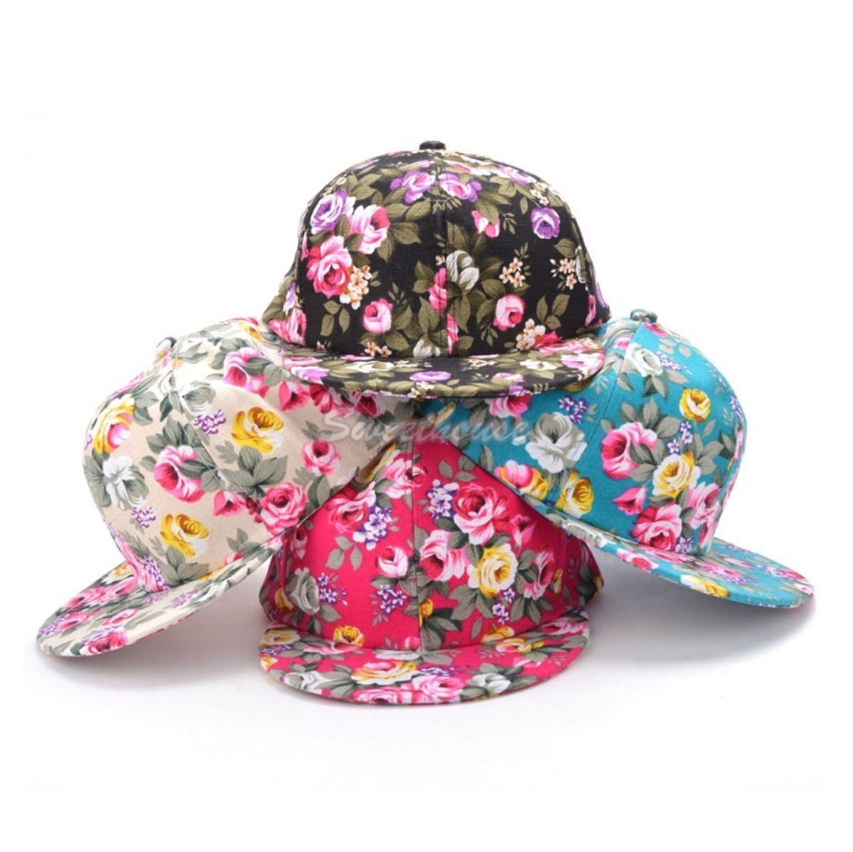 10 gorras planas flores mayoreo de moda dama. Cargando zoom. ca8a37d09c2
