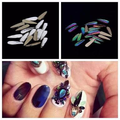 10 Gotas Largas De Cristal Tornasol Piedra Para Uñas Acrilic