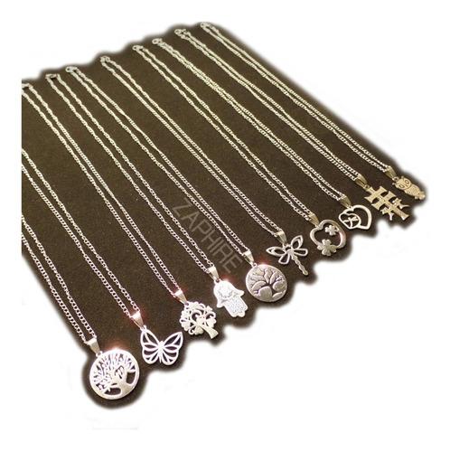 10 hermosas cadenas con dijes acero quirurgico por mayor