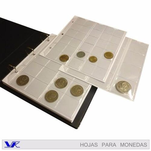 10 hojas para album de monedas marca viko calidad extra