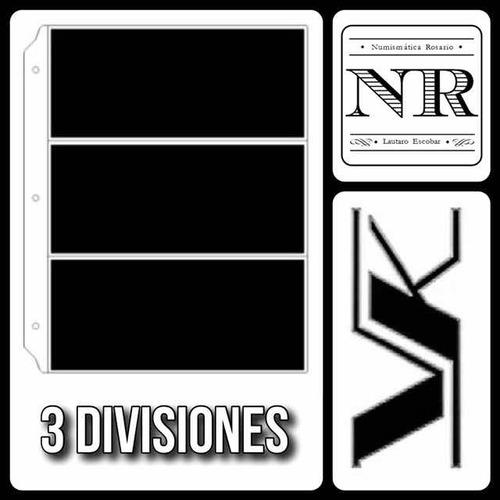 10 hojas para billetes - vk 3 divisiones en pvc fondo negro