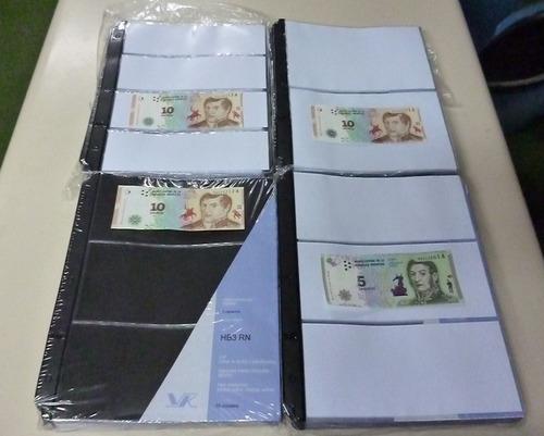 10 hojas para coleccionar guardar billetes marca vk sin pvc