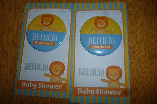 10 imán pins + tarjeta y embolsados - souvenirs baby shower
