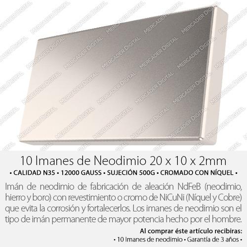 10 imanes de neodimio 20mm x 10mm x 2mm barra placa bloque