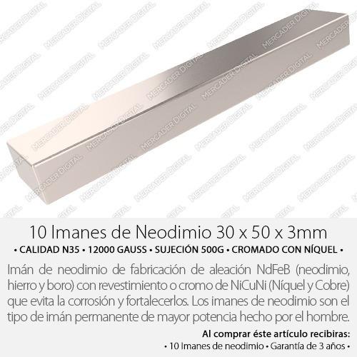 10 imanes de neodimio 30mm x 5mm x 3mm placa + envío gratis