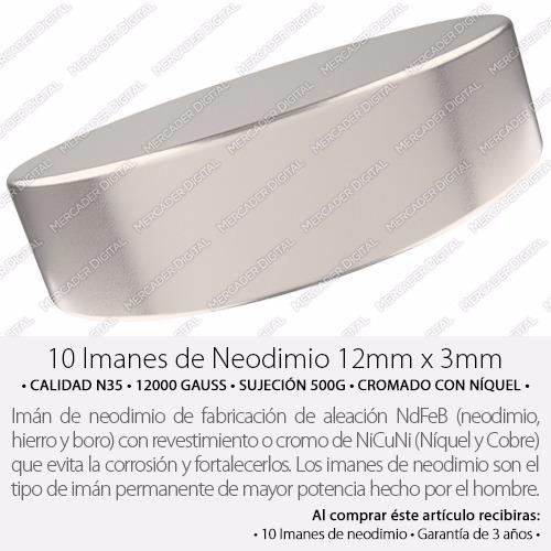 10 imanes de neodimio de 12mm x 3mm disco + envío gratis