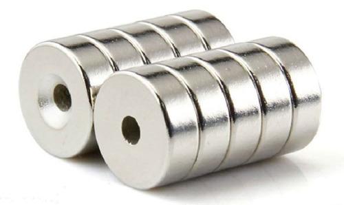 10 imanes neodimio 15mm x 4mm int. 4mm ring anillo dona xto
