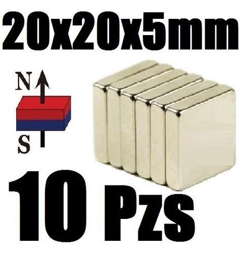 10 imanes neodimio 20mm x 20mm x 5mm biomagnetismo xto