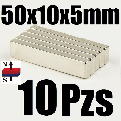 10 imanes neodimio 50mm x 10mm x 5mm super largo potente xto