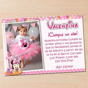 15 Invitación Primer Añito Minnie Mouse Baby Bebe Con Foto