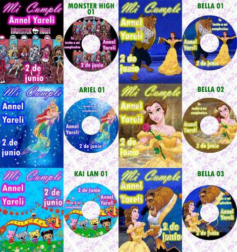 10 invitaciones cd con tarjeta, cumpleaños,bautizo,bodas.