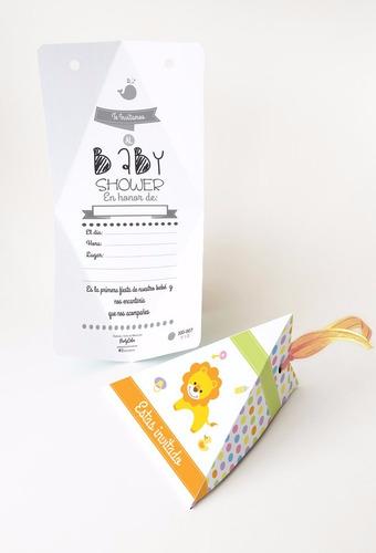 10 invitaciones con listón para baby shower leoncito
