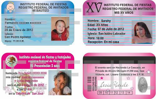 10 invitaciones en credencial de pvc tipo tarjeta de crédito