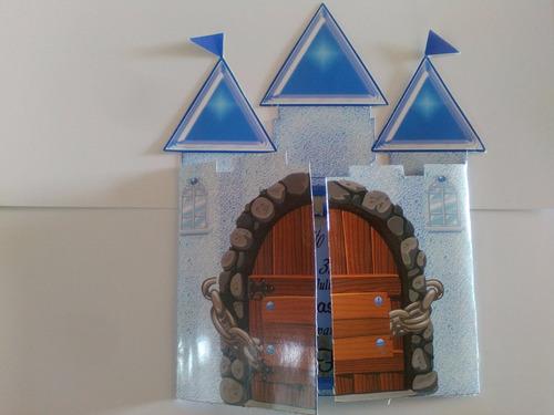 10 invitaciones forma de castillo xv años, 3 años,1ºcomunion
