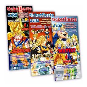 10 Invitaciones Impresas Dragon Ball Goku En Oferta