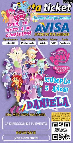 10 invitaciones impresas mi pequeño pony personalizadas