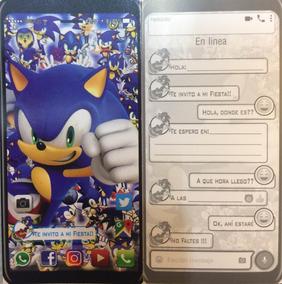 Pastel De Sonic Invitaciones Y Tarjetas Por 10 Unidades