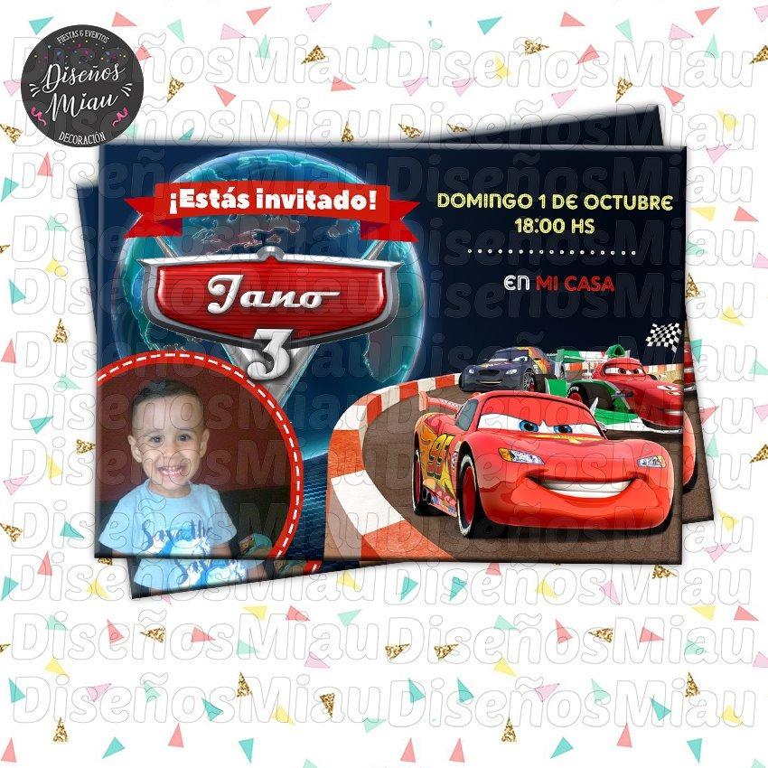 10 Invitaciones Tarjetas Cumpleaños Cars Rayo Mcqueen