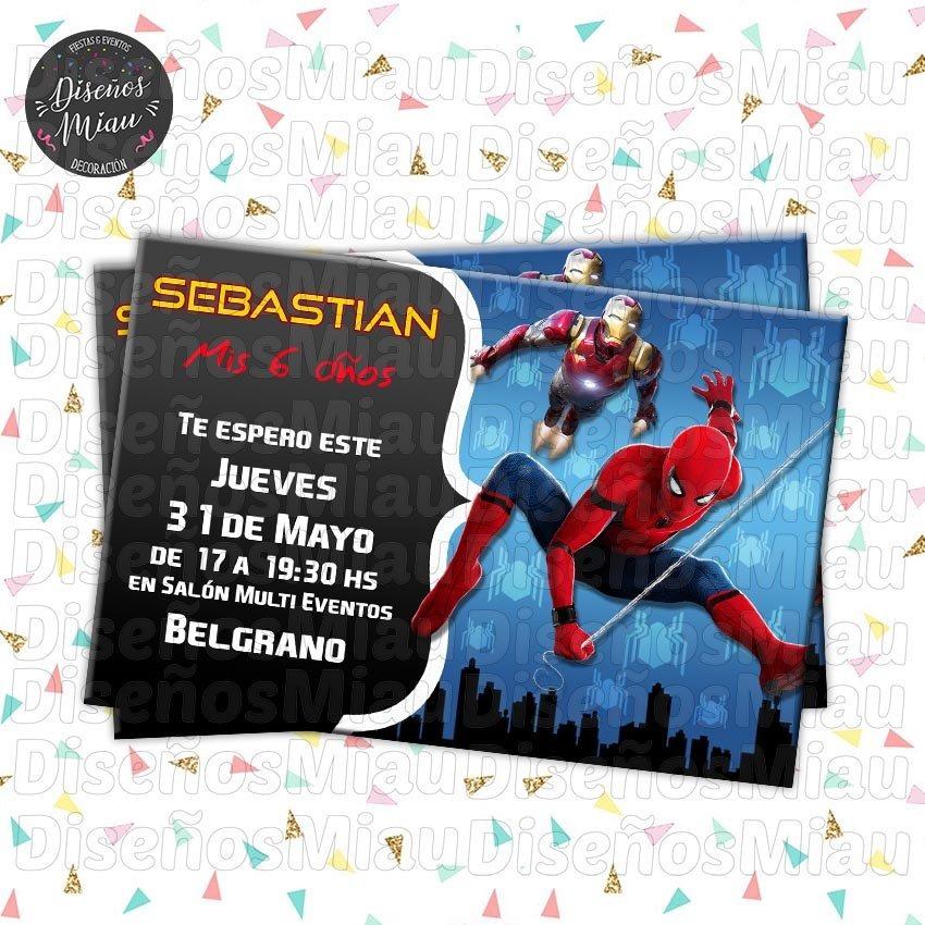 10 Invitaciones Tarjetas Cumpleaños Hombre Araña Spiderman
