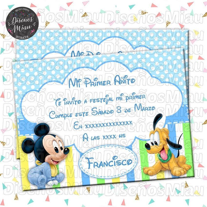 10 Invitaciones Tarjetas Cumpleaños Mickey Bebe