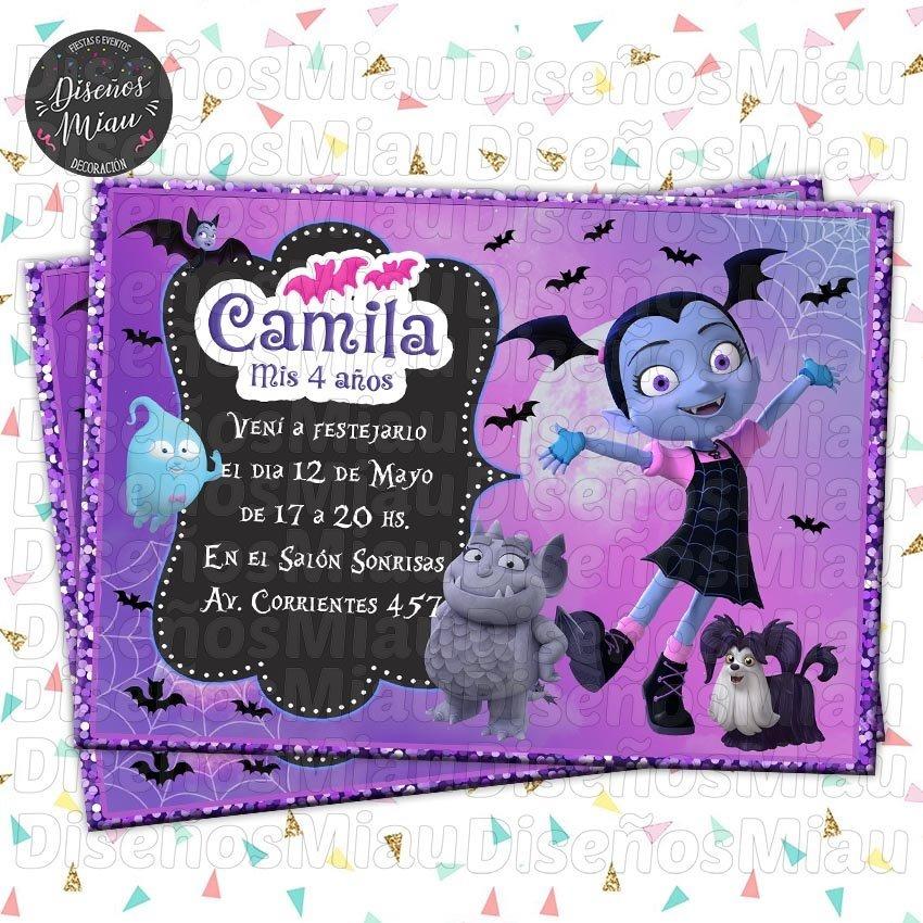 10 Invitaciones Tarjetas Cumpleaños Vampirina