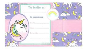 10 Invitaciones Unicornio Arcoiris Fiesta Cumpleaños E