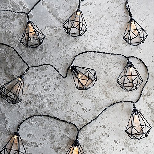 10 jaula de diamante negro funciona con pilas led de inte