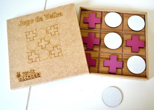 10 jogo da velha mdf tradicional x e o azul ou rosa