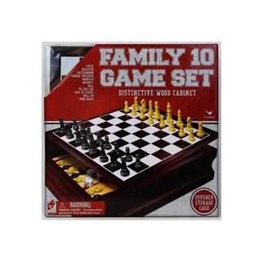 10 juegos de mesa en estuche de madera, ajedrez,damas chinas