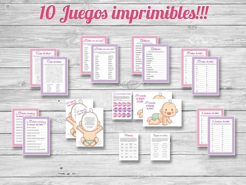 10 Juegos Imprimibles Baby Shower Nena Nene Formato Grande 130