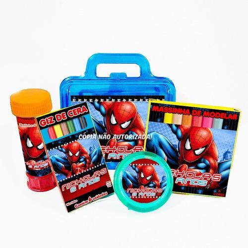 10 kit maleta homem aranha bolha giz massinha ioio lembrança