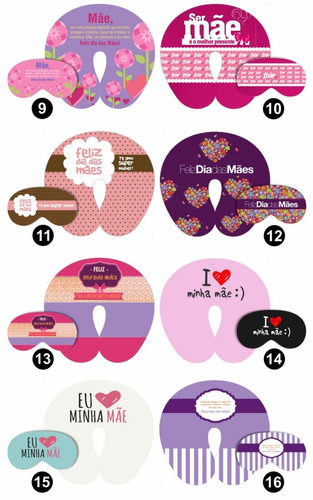 10 kits almofadas pescoço +  máscaras dormir dia das mães