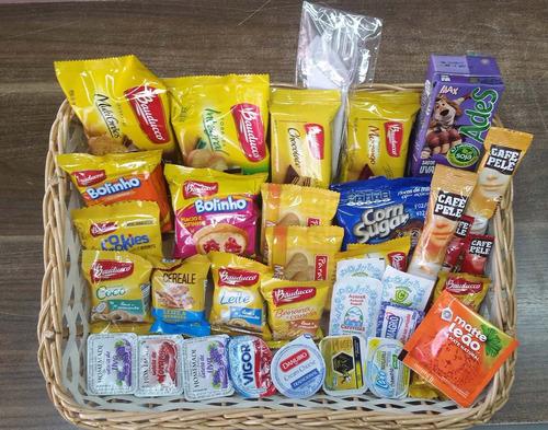 10 kits cesta de café da manhã 30 itens