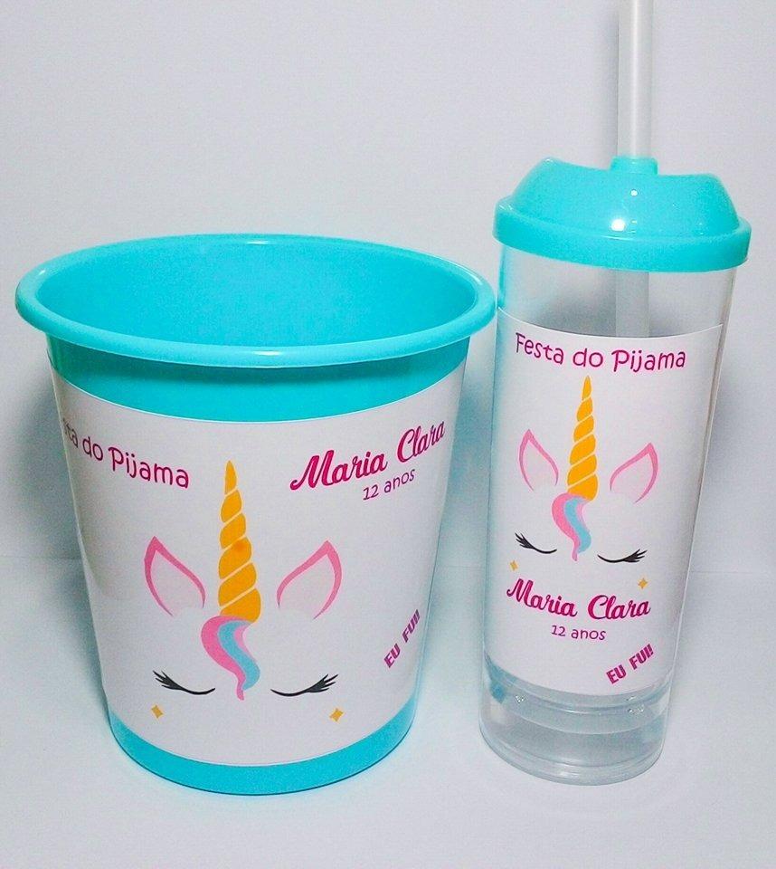 e64af5f72 10 Kits Cineminha  Balde De Pipoca + Copo Long Drink Canudo - R  150 ...