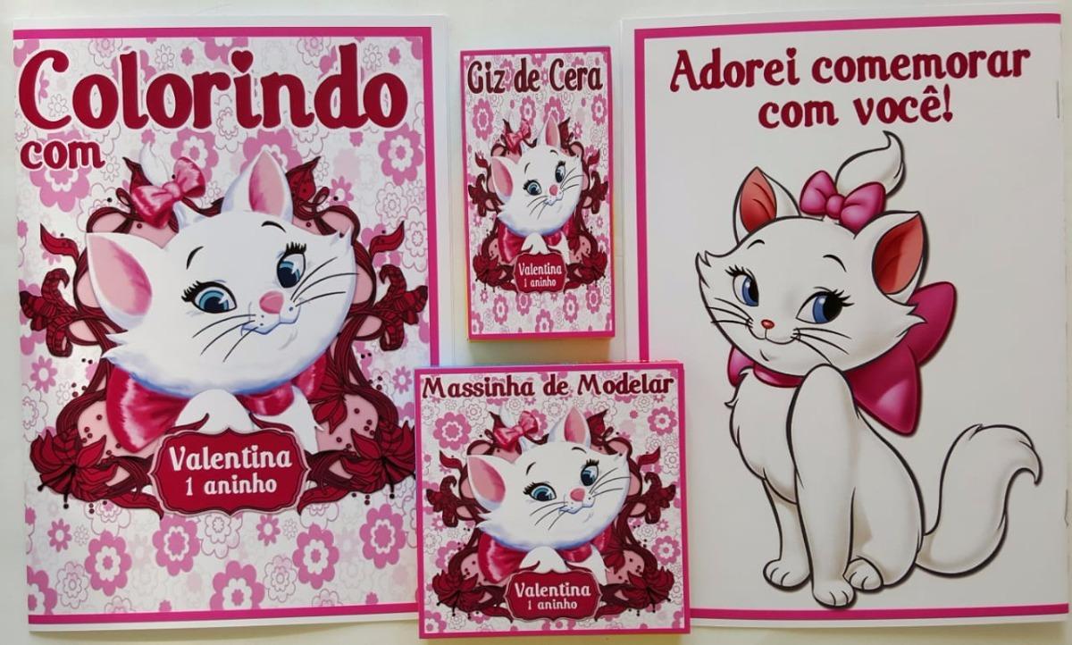 10 Kits Colorir Com Massinha Personalizados Gatinha Marie R 99
