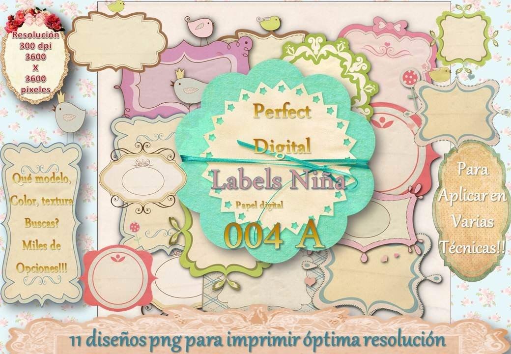 10 Labels Viñetas Marcos Frames Etiquetas Niña Colores 2x1 - $ 92,81 ...
