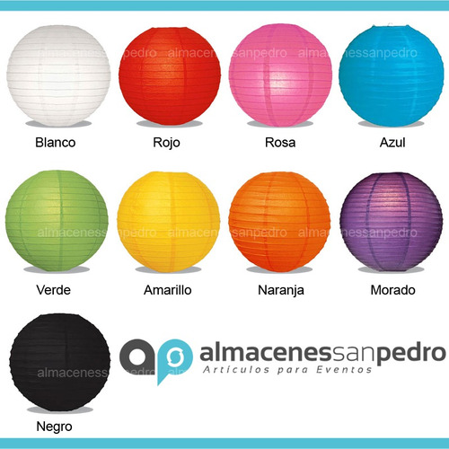 10 lamparas chinas 15 cms de colores para decoraciones