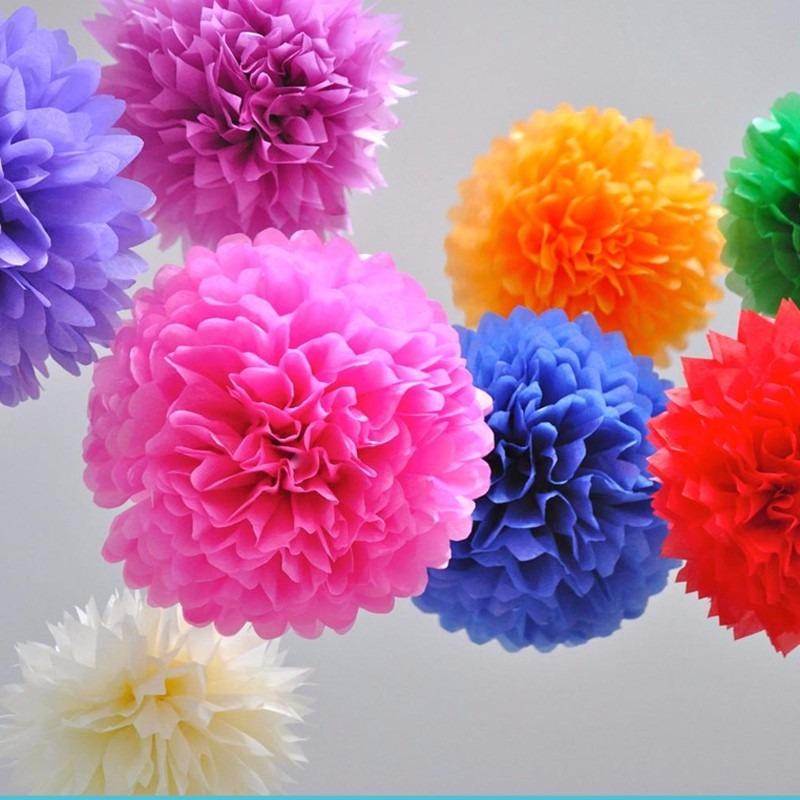 10 lamparas de papel pom pom pompones para decoraci n - Adornos con papel ...