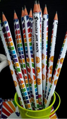 10 lapices personalizados+  sacapuntas+sticker+ bolsitas