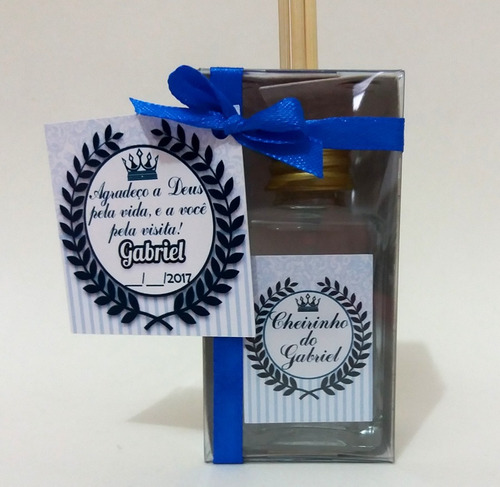 10 lembrancinha aromatizador vidro maternidade principe real